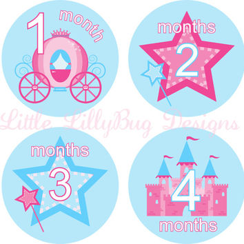 Baby Girl Month Stickers Baby Monthly Stickers Girl Monthly Shirt Stickers Princess Pink Blue Shower Gift Photo Prop Baby Milestone Sticker