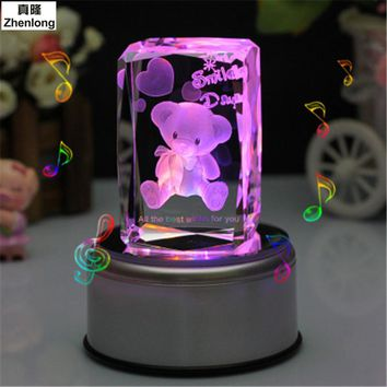 Bear 3D Crystal Ball Pokemon Go Glass Ball Home Decoration Lamp LED Colorful Rotate Base Music Box Art Furnishing Articles