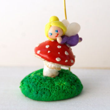 Photo or Card Holder, Fairy on a muchroom Tiny Fairy, Fly Agaric Poisonous Mushroom Handmade Polymer Clay