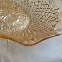 Vintage Amber Glass Fluted Edge Serving Bowl