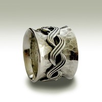 Sterling silver oxidized band with silver twisted by artisanlook