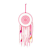 Pink Embroidered Dream Catcher with Lace, Berry Thread and Ribbon with Feathers Tassels