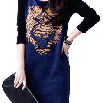 Vintage Tiger Print Slim Long Sleeve O-Neck Dress