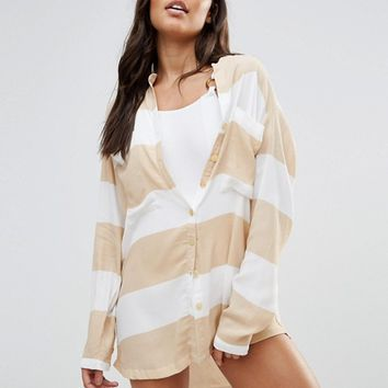 Zulu And Zephyr Wide Stripe Beach Shirt at asos.com