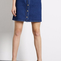 Denim Dark Blue Buttons A-Line Skirt With Pocket