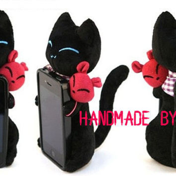5 Color Black Cat Sir iphone 5 case iphone 4 case iphone 4s case 3d cloth cat iphone cover