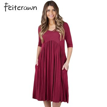 Feiterawn Women 3/4 Sleeve Draped Ruched Swing Dress Fashion Casual O Neck Stretch Pullover Side Pockets Midi Dress DL61653