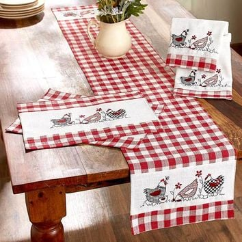 Country Kitchen Linens Hen Chicken Print Red White Checkered Farmhouse Decor