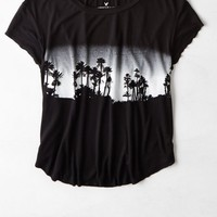 AEO 's Cropped Graphic T-shirt (True Black)