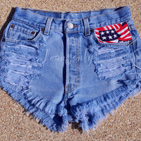 American flag shorts high waiysted shorts US flag red blue and white frayed distressed denim by Jeansonly