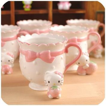 Cartoon Hello Kitty My Melody Bone Ceramic Coffee Milk Tea Mug Cup Best Birthday Gift For Lady Girl