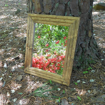 Rustic Walnut Framed Mirror