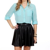 Mint Button Front Top