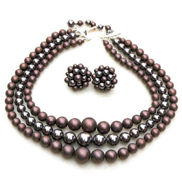 Mauve Glass Pearl Necklace and Earrings Vintage Japan