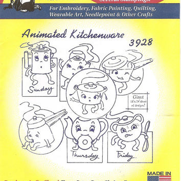 14-0915 Aunt Martha's Hot Iron Transfer / Embroidery Designs / 3928 Animated Kitchenware  / Iron On Kitchen Designs / Anthropomorphic
