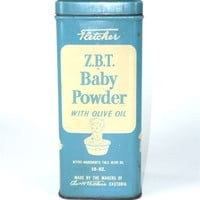 Large Vintage ZBT Baby Powder Tin Blue Advertising 10 oz