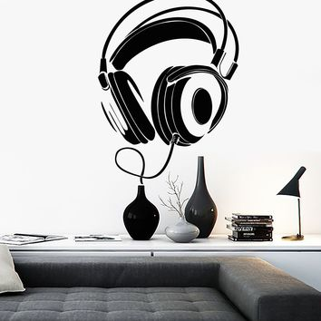 Wall Sticker Vinyl Decal Headphones Rock Pop Music Night Club Decor Unique Gift (z1092)