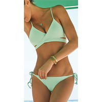 Sexy Cross Strappy Solid Strap Bikini Set Swimsuit Swimwear