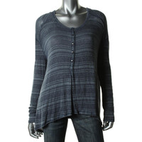 Free People Womens Knit Striped Casual Top