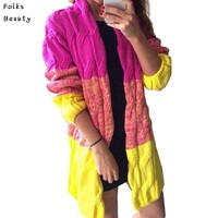 2018 Winter Autumn Women Sweater Full Sleeve Cardigans Patchwork Long Thicken Colorful Shiny Warm Outwear Coat