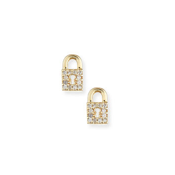14k Diamond Lock Single Stud Earring - Sydney Evan