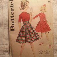 Uncut 1950's Butterick Sewing Pattern, 2405! Size 7 Girls/Wide midriff Dress/Pleated Flared Skirts/High Neck Bodice/Three-Quarter Sleeves