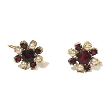 Victorian Style Garnet Earrings, Floral Motif, Faux Pearl, Gold Tone Open Back Design, Screw Back, Garnet Rhinestones, Vintage Gift For Her