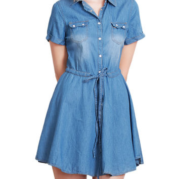 LE3NO Womens Lightweight Short Sleeve Skater Denim Dress with Belt