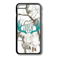 Turquoise White Camo Antlers Monogram Iphone 6/6S Case Plus 5C 5/5S 4/4S Personalized Snow Deer Hunting Custom Cover