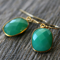 Small Chrysoprase Green Chalcedony Drop Earrings, Emerald Green, Large Dangle, Large Drop, Gold Vermeil, Huge Teardrop