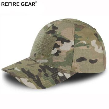 ReFire Gear Outdoor Snapback Camouflage Hat Hiking Hunting Baseball Cap Men Rip-Stop Adjustable Fishing Camping Jungle Caps
