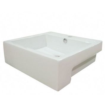 EV4034  Concord White China Vessel Bathroom Sink with Overflow Hole