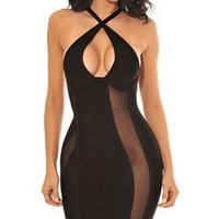 Rock Your Body Black Sheer Mesh Sleeveless Halter Cut Out Keyhole Bodycon Bandage Midi Dress
