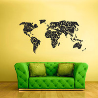 rvz1715 Wall Vinyl Sticker Bedroom Decal World Map Country Words Quotes