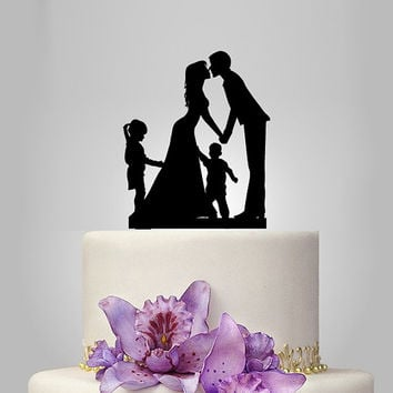 family wedding cake topper with brother and sister, bride and groom silhouette, rustic cake topper, wedding silhouette, funny cake decor,