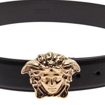 $525 Versace Black Leather 3D Medusa Belt 115/46