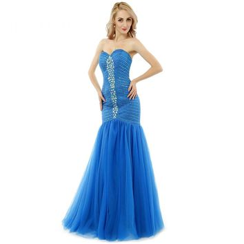 New Sexy Tulle Beads Sequined Backless Sleeveless Prom Dresses Sweetheart Neck Mermaid Prom Gown