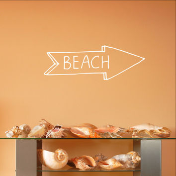 Beach Arrow Chalkboard Style Sign Vinyl Wall Decal 22582