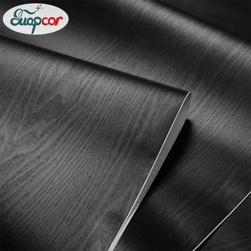 0.4x3M Black Wood Grain Self Adhesive Wallpaper Bedroom Decoration Wall Stickers Room Cabinets Wardrobe Door Waterproof Stickers