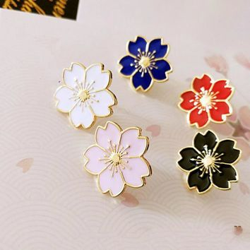 Qiaoyue The new sweet cherry blossom brooch Drip flower collar pin badges Clothing bags accessories Female accessories