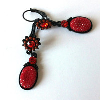 Flowers Burgundy, Red, Bordeaux Earrings, Beaded, Glass, Dangle