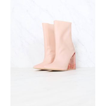 Cape Robbin Birthday Suit ankle booties with clear lucite heel in pink