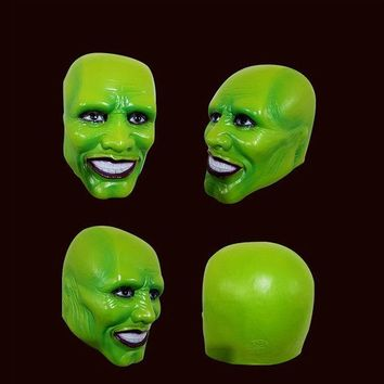 CREYONHS Halloween The Mask Jim Carrey Cosplay Green Mask Costume Adult Fancy Dress Face Halloween Masquerade Party Cosplay Movies Mask