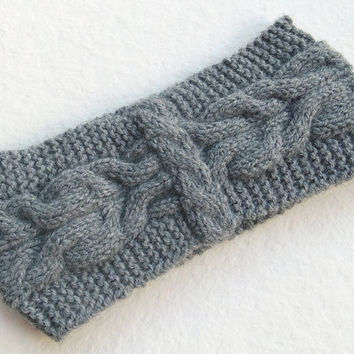 Hand Knitted Women Headband Turban in Grey Color,Handmade Turban Headband,Warm Head Wrap,Trendy Winter Ear Warmer,Knit Women Accessory,Boho