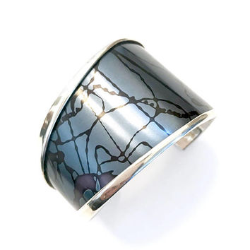 Rare Katz Turner & Wyatt Modernist Sterling Silver Cuff, Blue Purple Black Enamel, Asymmetrical Design, Handcrafted, Vintage Gift for Her