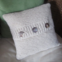 MADE TO ORDER  Chunky hand knit cotton pillow by LadyshipDesigns