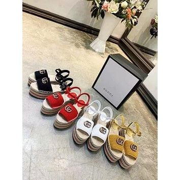 Gucci Sandals Shoes Crochet knitting Black Leather Casual Women Slippers