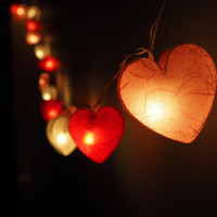 SALE Shining Heart Fairy String Light - 20 Heart Love  Lights Fairy lights Party Decor Wedding Garden Spa and Holiday Lighting, Valentine