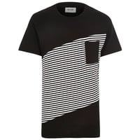 Black Color Block Stripe T-Shirt