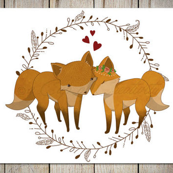 Fox couple in love illustration, Valentine's Day woodland wall art printed on thick paper